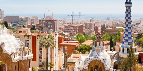 panorama of Barcelona city from Park Guell