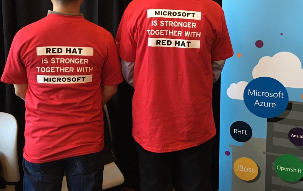 "Microsoft team sporting their ""stronger together"" NAPC themed t-shirts"